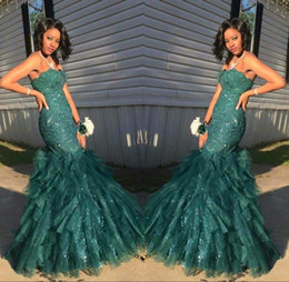 Mermaid Dark Green Prom Party Dresses Tiered Strapless Ruffled Sparkly Sequins Beading Sleeveless Celebrity Evening Dress