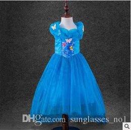 Descuento cenicienta niños vestido del partido Cenicienta vestido sin mangas de mariposa Cinderella Princesa Cosplay traje de los niños de encaje partido Fancy Ball Princesa Vestido vestido CCA5384 100pcs