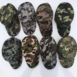 Descuento sombreros de camuflaje 2017 unisex moda camuflaje gorra de béisbol visera del sol mujeres hombres ejército militar gorro al aire libre deporte 8 color al por mayor