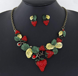 Wholesale Lovely Design Strawberry Necklaces For Women Cute Fruit Earrings Necklace Set Epoxy Leaves Pendant Necklace SETS