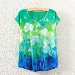 Promotion imprimé floral t-shirts femmes Vente en gros-2016 Nouvelle Imprimé Encre Peinture Fleur Eté Short T-Shirt Col Rond Femmes T Shirt Tops Vetement Femme Tees Chemise C1663