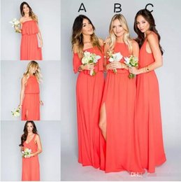 2018 Free Shipping Elegant Coral Bridesmaid Dresses Chiffon Floor Length Boho Party Dress for Beach Country Wedding Plus Size Custom Made