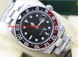 Cerámica blanca reloj de pulsera en venta-Relojes de Lujo Alta Calidad GMT II 116719 BLRO Rojo Negro Cerámica Bezel 18K Oro Blanco NUEVO Mens Automático Reloj Hombres Reloj de pulsera