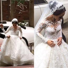 Wholesale Elegant Anna Campbell Wedding Dresses Sheer Nekline Arabic Long Sleeve Beaded Sexy Custom Plus Size Country Buyers show Berta Bridal