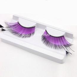 2017 cils de scène Hot Color False Eyelashes Naturel Purple Winged Plumes Handmade Fake Eyelashes Catwalk Stage Exaggerated Lashes Maquillage cils de scène à vendre