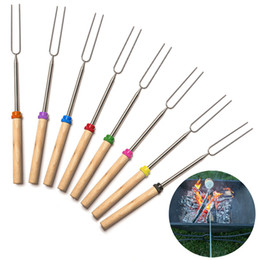 Wholesale 8 Barbecue Bonfire Camping Tools Bake Fork Forks Sticks Needle Spit TOO BBQ Roast Stainless Steel Fork Wooden Handle