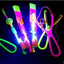 Wholesale Large LED Light Slingshot Elastic Arrow Rocket Helicopter Flying Toy Party Fun Gift Color Random L502