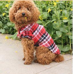 Wholesale Pet Supplies Clothes Puppy Dog Vests T Shirt Apparel Costume plaid checker Soft pets dogs cats T Shirt