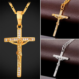U7 Cross Crucifix Pendant Necklace Christ Jesus Women Men Religion Cubic Zirconia Gold Platinum Plated Link Chain Perfect Gift Accessories