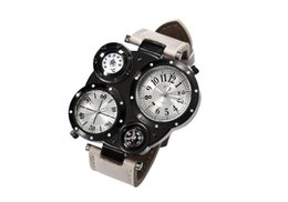 Wholesale 2017 new aliexpress Mens Watch explosion double movement large dial compass military men quartz watch Fashion Watch men