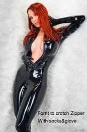 Traje de cuero completo en Línea-El mono negro del mono del cuero de Faux del negro de las mujeres pagadas de la novedad Catwoman Cosplay viste el Catsuit con guantes Clubwear más el tamaño S-XXL