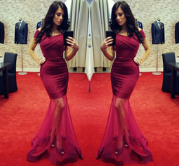 2017 New Elegant Burgundy Mermaid Prom Dresses Sexy Off The Shoulder Ruffles Floor Length Tull Gowns Evening Dresses Formal Party Gowns