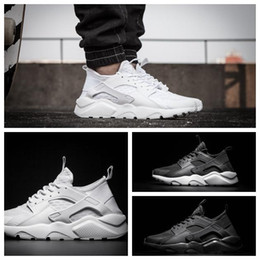 Top Quality Wholesale 2017 Men Casual Air Mesh New Huarache Trainer Chukka Black White Lightweight Breathable Walking Hiking Shoes 40-45