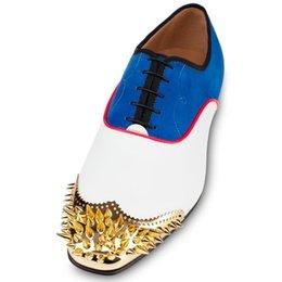 Франция человек для продажи-Франция Подлинный Конструктор Мужская обувь Мужская Flat Red Bottoms кроссовки синий / белый / красный высокий SZ35-46 Топ высокого качества Wholesa