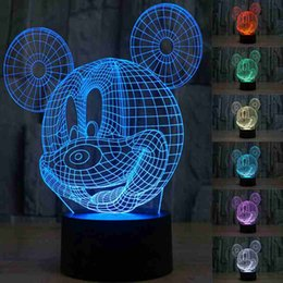 Wholesale 3D Table Lamp Creative Acrylic Mickey Mouse LED Night Light Colorful Atmosphere Table Lamp with USB Cable Best Gift for Children