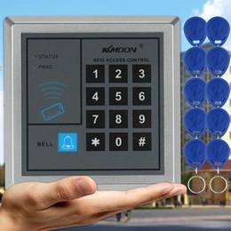 Rfid clave cerraduras de las puertas en Línea-RFID entrada de metal bloqueo de la puerta de control de acceso + 10 llaveros, red LCD lector de tarjetas de entrada de bloqueo de la puerta