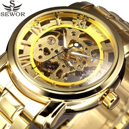 SEWOR Top Brand men skeleton mechanical watch gold full steel Band Wristwatches army luxury male wrist watch Relogio Masculino