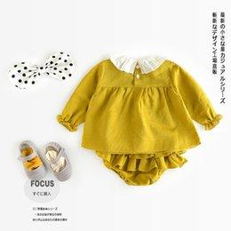 Wholesale 2017 Spring fashion hot ins baby cotton lotus collar t shirt shorts suit suit clothing babys sets