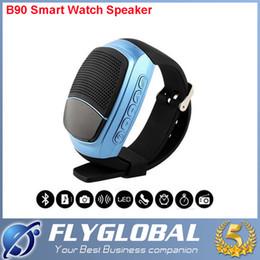 Boîte de haut-parleur de radio à vendre-B90 Bluetooth Watch Haut-parleur Smart Wearable Handsfree Appel Portable Bluetooth Sport Musique Speacker TF Carte Jouer FM Radio boîte de détail
