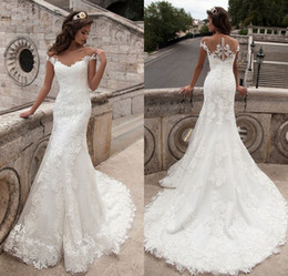 Milla Nova 2017 New Arrival Mermaid Wedding Dresses Vintage Scoop Neck Appliques Short Sleeve Lace Vestido De Noiva Bridal Dresses