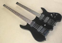 Acheter en ligne Guitare double goulots-Gros-cou double sans tête 6 cordes plus 4 STERINBORGH SONS guitare électrique 4 cordes basse style noir 0411