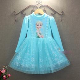 Nouvelles robes de filles de noël à vendre-Vêtements de Noël nouveau congelé Elsa robe bleu robe de dentelle robe de demoiselle d'hiver à manches longues robe princesse robe de soirée
