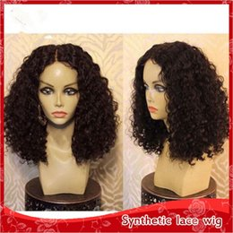 Hot Sale Middle Part Synthetic Glueless Lace Front Wig Heat Resistant Kinky Curly Heat Resistant Black Wig for Black Women