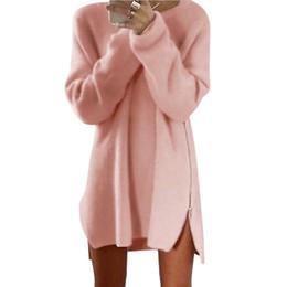 Senhoras jumpers casuais On-line-Atacado-Moda Lady Knitwear Mulheres manga comprida Zipper Side Jumper Inverno malha Plus Size Split Sweater Loose Tunic Mini Vestidos X2
