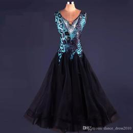 New Ballroom Dance Dress Modern Waltz Tango Standard Blue Leopard Rhinestone Dance Dress Size S-XXL Custom A74