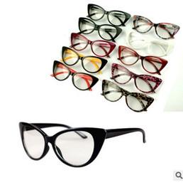 Fille chat cru en Ligne-Sexy Mode Vintage Cat-Eye Forme Femmes Lady Girls 10 couleur plastique Plain Eye Glasses