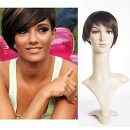 Short 6inch Machine made short human hair wigs none lace brazilian original human hair straight Dark Brown