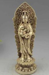Chine Bouddhisme Argent Prier Bénir Enfant Garçon GuanYin kwan-yin Déesse Statue de Bouddha