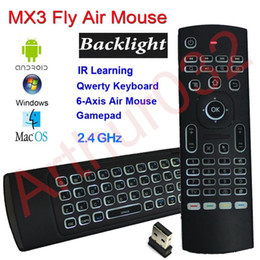 Wholesale X8 Backlight MX3 Mini Keyboard With IR Learning Qwerty G Wireless Remote Control Axis Fly Air Mouse Backlit Gampad For Android TV Box i8