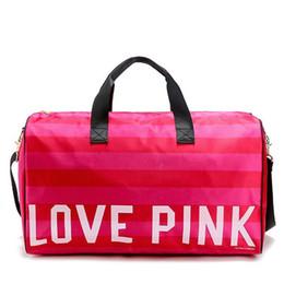 Hot Women Fashion Sexy Love Pink Handbags Barrel-Shaped Large Capacity Travel Duffle Striped Waterproof Beach Bag Shoulder Bag