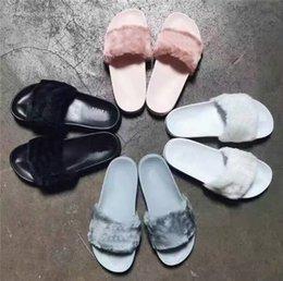 Wholesale With Shoes Boxes Indoor RIHANNA LEADCAT FENTY Women Slippers Rihanna Leadcat Fenty Faux Fur Slides Sandals Unisex Fenty Shoes