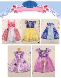 Cenicienta niños vestido del partido en venta-Niños Bebé Bella Rapunzel Blanca Nieves Belleza Cinderella Belleza Congelados Princesa Niños Traje Traje Vestido Niñas Tutu Ball Gown Z571