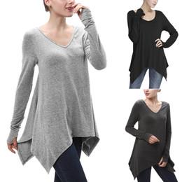 Women Long T-Shirt Ruched Long Sleeve Asymmetric Loose Casual Shirt Top Fashion V-Neck Fall Winter Tees Gray Black Oversized Blouse MDG0618