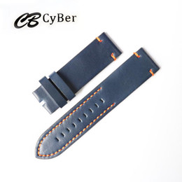 Cbcyber 24mm Genuine Leather Watch Band Strap for P Watch With steel Buckles, men's watchbands for luxury watch