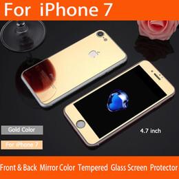 Écrans pourpres à vendre-Iphone 7 miroir coloré verre trempé protecotor or / rose or / noir / argent / violet / bleu couleur
