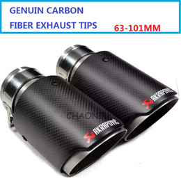 Wholesale Car Styling Pair ID mm OD mm Stainless Steel Akrapovic Carbon Fiber Car Exhaust Tip Muffler for any cars