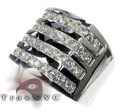 Mens Diamond Ring Round Cut F-G Color VS1 14k White Gold 4.65ct