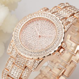 Rose Gold Geneva Watch Women Rhinestone Watches Females Clock Stainless Steel Ladies Quartz Watch Women's Wristwatch 10pcs Wholesale Relojes