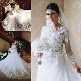 Amazing 3D-Floral Appliques Wedding Dresses Sheer Neck Long Sleeve Tulle Chapel Train Bridal Gowns Vestido De Noiva Arabic Wedding Dress
