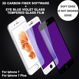 Écrans pourpres en Ligne-3D Soft edge Eyecare Résistance à la lumière blu-ray Violet Pleine couverture verre trempé pour iPhone 7 7 plus film protecteur d'écran