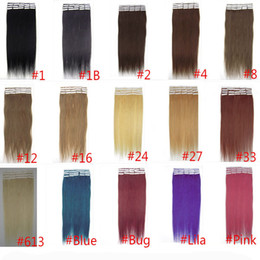PU Skin Weft Indian Remy Tape In Human Hair Extensions Straight 16 18 20 22 24 inch 40 PCS 15 Colors