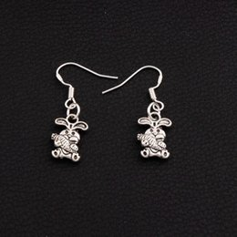 Easter Bunny Carrot Rabbit Earrings 925 Silver Fish Ear Hook 50pairs lot Antique Silver Dangle E059 9.8x32mm