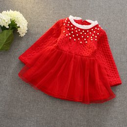 Wholesale christmas party girls dresses Red Dress with Mesh Skirt tutu ball gowns for kids Clothing princess costume Baby Girls Knit Dress
