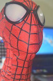 New Spiderman 2 adulte Costume Hood Overhead Masque 3D yeux stéréo Dimensional Line Lycra tissu stretch Costume Hood Accessoire Taille unique hood lines on sale à partir de lignes de capot fournisseurs