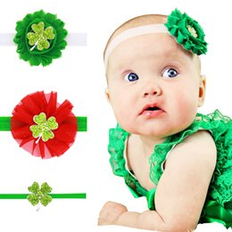 St. Patrick's Day Baby Headband, Green Shabby Chic St. Patrick's Day Headband stunning rhinestone four leaf clover embellishment 3 pcs set