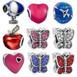 Wholesale Big Hole Beads Enamel Hot Air Balloon Butterfly Beads Fit Diy Bracelet Charms Bracelets Beads Bijoux Berloques